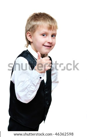 elegant little boy showind thumb up over the white