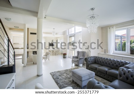 Elegant living room in a bright modern apartment - stock photo