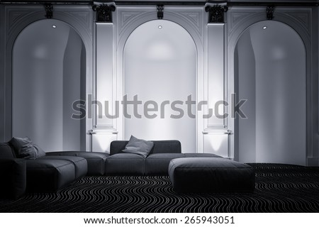 Elegant living room interior with tall arched wall alcoves accented by down lights and a comfortable modular lounge suite, greyscale image. 3d Rendering - stock photo