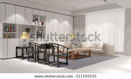 Elegant living room with sofa and chairs in a loft (3D Rendering)