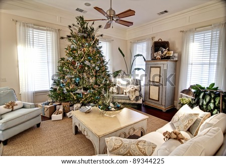 elegant livingroom decorated for christmas - stock photo