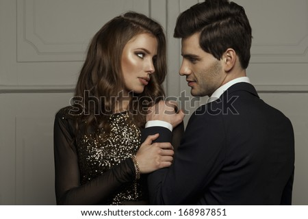 Elegant lovely couple  - stock photo