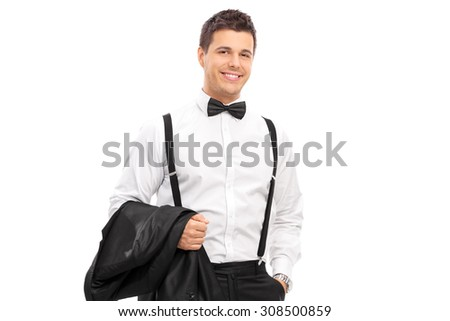 Elegant man carrying his coat and posing isolated on white background - stock photo