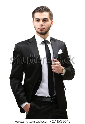 Elegant man in suit isolated on white - stock photo