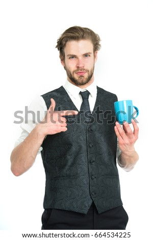 elegant man in waistcoat with a cup of coffee isolated on white background