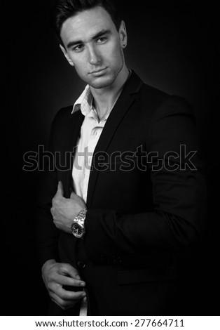 elegant man portrait,toned picture - stock photo