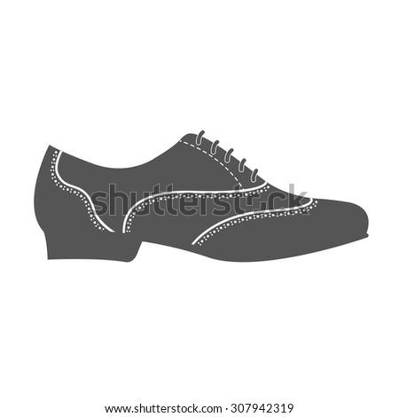 Elegant man's shoe. Argentine tango shoes.Design template for label, banner, postcard, logo. - stock photo