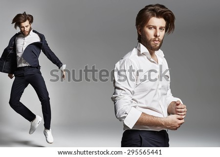 Elegant man with beard - stock photo