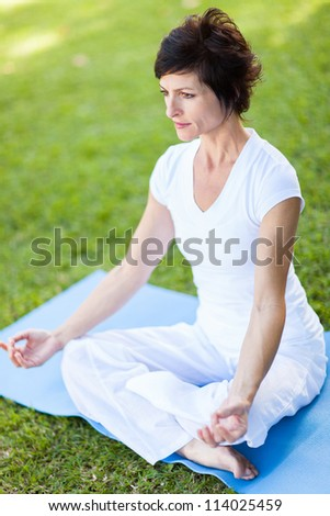 elegant mid age woman doing yoga meditation outdoors - stock photo