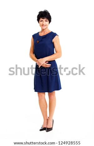 elegant middle aged woman in blue dress full length portrait isolated on white - stock photo