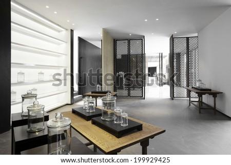 Elegant minimalist clubhouse interiors - stock photo