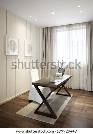 Elegant minimalist house interiors,Study room - stock photo
