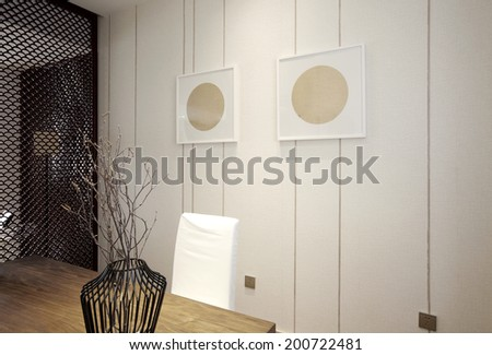 Elegant minimalist house interiors,Study room - stock photo