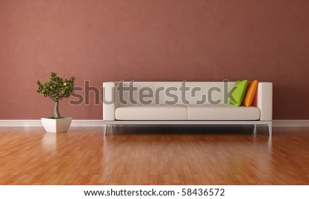 elegant modern lounge with couch and plant - rendering - stock photo