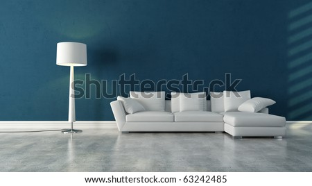 elegant modern white couch in a blue interior with concrete floor - rendering - stock photo