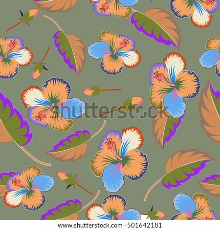 Elegant multicolored seamless pattern with abstract flowers, leaves and buds. Floral pattern on gray background for wedding invitations, scrapbooking, print, manufacturing fabric and textile.