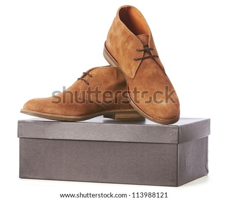 elegant new brown shoes - stock photo