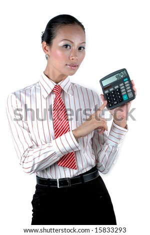 Elegant office girl calculating numbers, holding calculator, wearing elegant clothes.