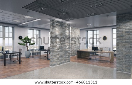 Elegant office interior . Mixed media
