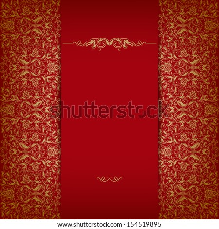 Elegant ornate background with lace seamless ornament for invitations, greeting card, menu. Floral elements, place for text. - stock photo