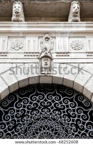 Elegant Palace entrance detail in Serravalle - stock photo