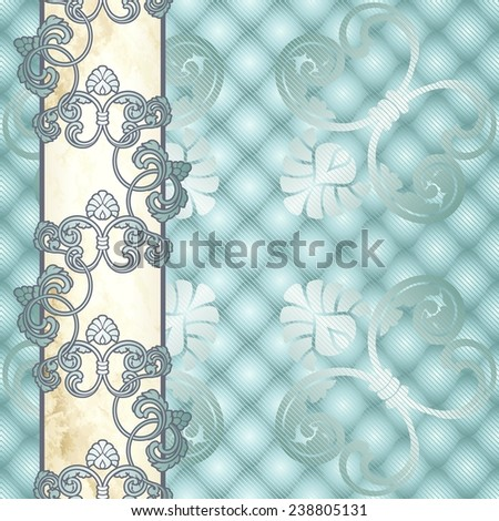 Elegant pale blue Rococo background with ornamental margin (jpg); eps10 version also available - stock photo