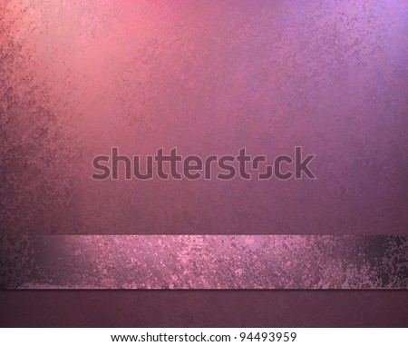 elegant pink background with lighted corners with vintage grunge texture and soft faded worn blue accent blotches and sponge design on ribbon stripe on bottom of frame border - stock photo
