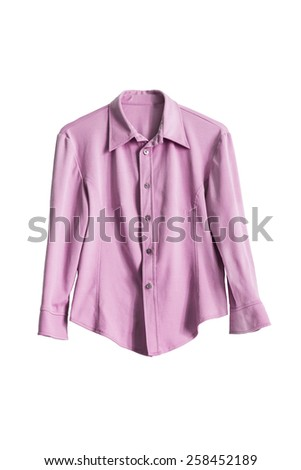 Elegant pink silk blouse isolated over white - stock photo