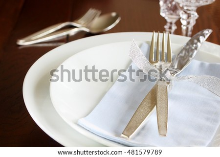 Elegant place setting, suitable for wedding, Christmas or New Year's background