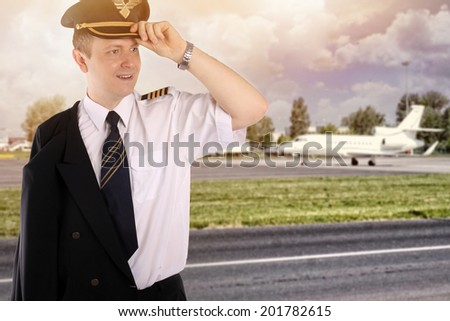 elegant private business aircraft pilot - stock photo
