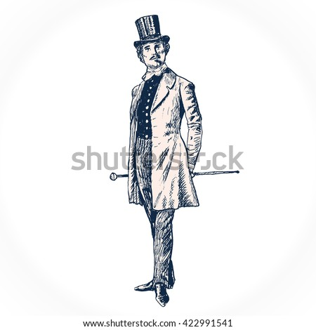 Elegant proud man of the nineteenth century. The gentleman in a frock coat and a top hat, holds a cane in hand. Hand drawn illustration in vintage engraved style. Raster version