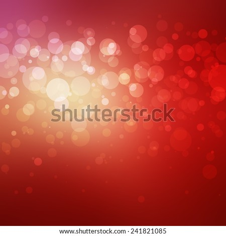 elegant red background, white gold bokeh lights shine in center layer on smooth gradient blurred background, shiny glittering silver gold and white balls of light with orange gold bright center - stock photo