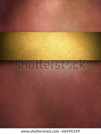 elegant red distressed background with texture and highlight, rich gold ribbon stripe in graphic art design layout for copy space to add your own text or title - stock photo