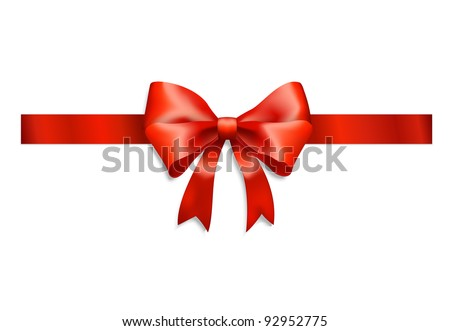 elegant red ribbon and bow isolated on white - stock photo