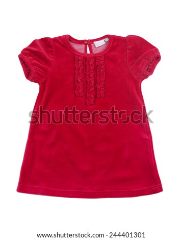 Elegant red velvet baby dress isolated on white background - stock photo