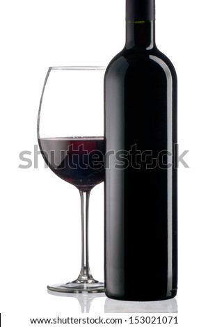 Elegant red wine glass and a wine bottle in white background - stock photo