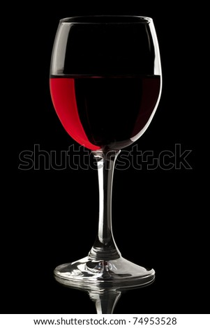 Elegant red wine glass in a black background