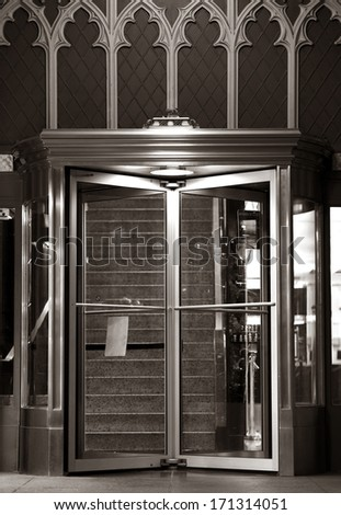 Elegant Residential Building Entrance Doors. Rotating Doors. Architecture Details.