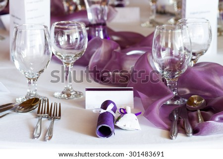elegant restaurant table set for event, wedding place