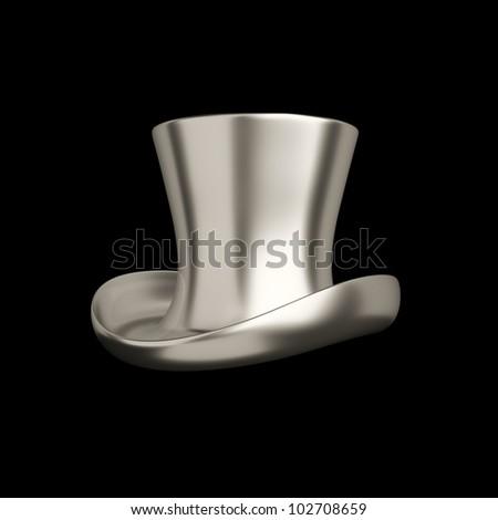 Elegant retro silver top hat isolated on black background - stock photo