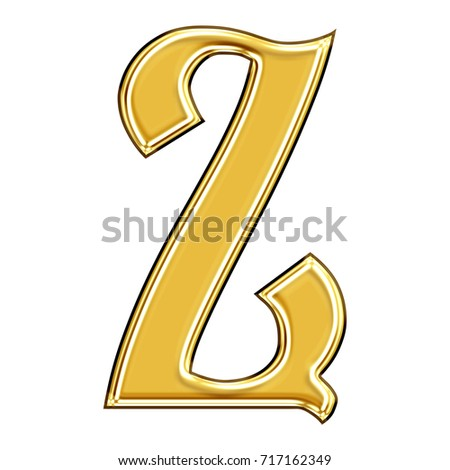Elegant rich gold uppercase or capital letter Z in a 3D illustration with a smooth metallic golden surface and ancient antique font style isolated on a white background with clipping path.