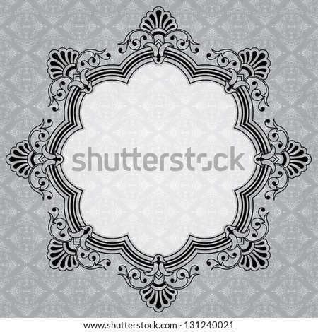 Elegant round decorative gray label with copy space - stock photo
