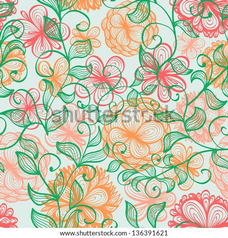 Elegant seamless hand drawn background with soft pink flowers and branches. Raster version of the vector image