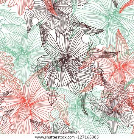 elegant seamless pattern with abstract orchid flowers for your design - stock photo
