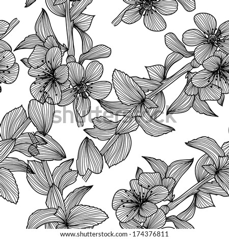 elegant seamless pattern with decorative cherry blossom, design element - stock photo