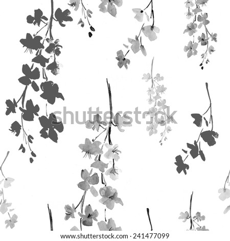 elegant seamless pattern with decorative cherry blossoms for your design - stock photo