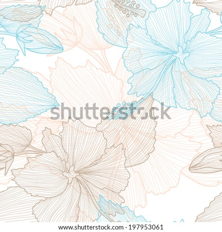 Elegant seamless pattern with decorative pastel hibiscus flowers, design element. Beautiful floral background. Floral pattern for wedding invitations, greeting cards, scrapbooking, print - stock photo