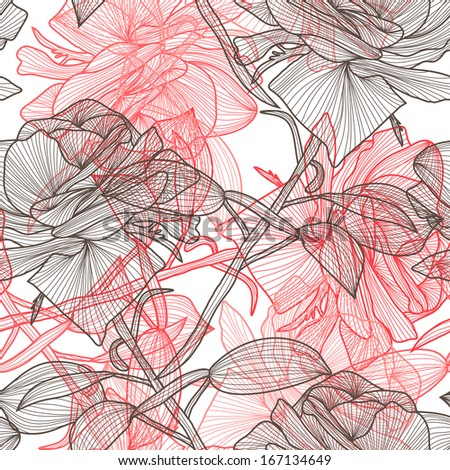 elegant seamless pattern with decorative roses for your design - stock photo