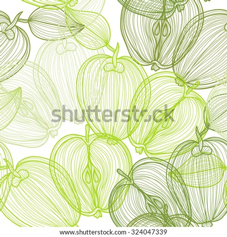 Elegant seamless pattern with hand drawn decorative apple fruits, design elements. Can be used for invitations, greeting cards, scrapbooking, print, gift wrap, manufacturing. Food background - stock photo