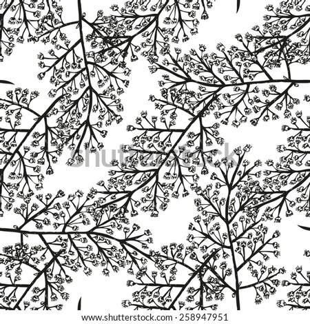 Elegant seamless pattern with hand drawn decorative grape flowers, design elements. Can be used for invitations, greeting cards, scrapbooking, print, gift wrap, manufacturing. Food background - stock photo